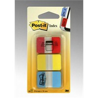 Post-it® Index- Sert Seperatör, Kalin Polyester, Kirmizi, Sari, Mavi, 3 renk x 22 AD