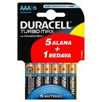 Duracell Turbo Max Alkalin AAA İnce Kalem Pil (5+1) 6'lı Paket