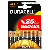 Duracell Alkalin AAA İnce Kalem Pil 6+2 Ekonomik Paket