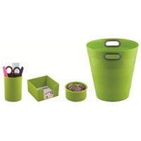 Ark Collection Ofis Seti Neo Yeşil (Çöp kovası + Kalemlik + Küpnotluk + Ataşlık)