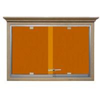 Akyazı 90x180 Ahşap Camekanlı Kumaşlı Pano (Turuncu)