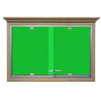 Akyazı 90x120 Ahşap Camekanlı Kumaşlı Pano (Yeşil)