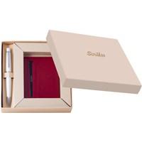 Scrikks DR 3104-C2/2 Soft Deri Kırmızı Kredi Kartlık + 62 Tükenmez Kalem Beyaz Set