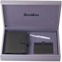Scrikks SDR 301 Cep Ajanda Haki + Komfort Kredi Kartlık Haki + 62 Tükenmez Kalem Beyaz