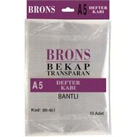 Brons Br-461 Hazır Defter Kabı A5 Şeffaf Bantlı 10 'lu Set
