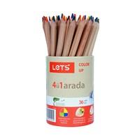 Lets L2360 Tek Kalemde 4 Renk Boyama Kalemi 36'Lı Kap ( Mavi,Kırmızı,Sarı,Yeşil)