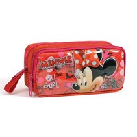 Minnie Mouse Kabartmalı Kırmızı Kalem Çantası