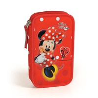 Disney Minnie Mouse Kırmızı Çift Bölmeli Kalem Çantası (Yaygan)