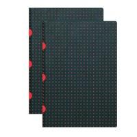 Paper-Oh 9175-2 Twin A4 Çizgisiz Black On Red Defter