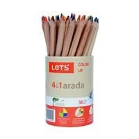 Lets Tek Kalemde 4 Renk Boyama Kalemi 36'Lı Kap Mavi,Kırmızı,Sarı,Yeşil L-2360