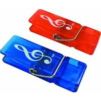 Sol Anahtarı Desenli Renkli Klips - Mavi