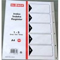 Globox 1-5 Rakam Gri Pp Seperatör A4 (Ayraç)