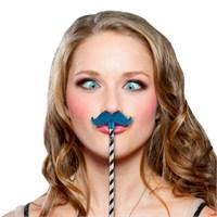 Npw Glıtter Moustache Toppers Blue