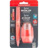 Serve E-Bot Silgili Kalemtıraş+Serve Bold 0.7 Mm Versatil Kalem Fosforlu Kırmızı Sv-Be07B2Fk
