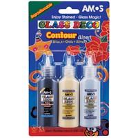 Amos Glass Deco Sökülebilir Cam Boyası Boyası Siyah, Gümüş, Altın Kontur GD22B3 eol