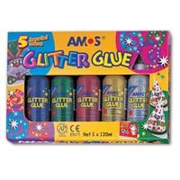 Amos Glitter Glue Simli Yapıştırıcı 22 ml. 5 Renk GCL120P5