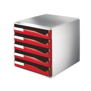 leitz çekmeceli evrak rafı 5 çekmeceli kırmızı 52800025 - kırmızı
