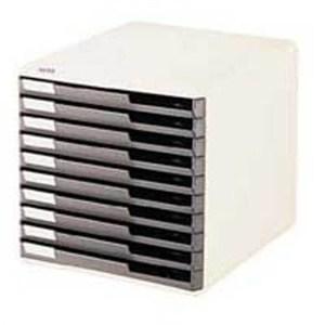 leitz çekmeceli evrak rafı 10 çekmeceli gri 52810089 - gri