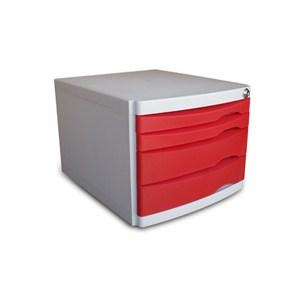 ops cmc204 4 çekmeceli kilitli evrak rafı kırmızı
