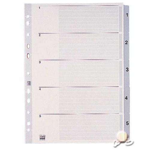 Esselte Separatör A4 1-5 Rakam Gri 100103