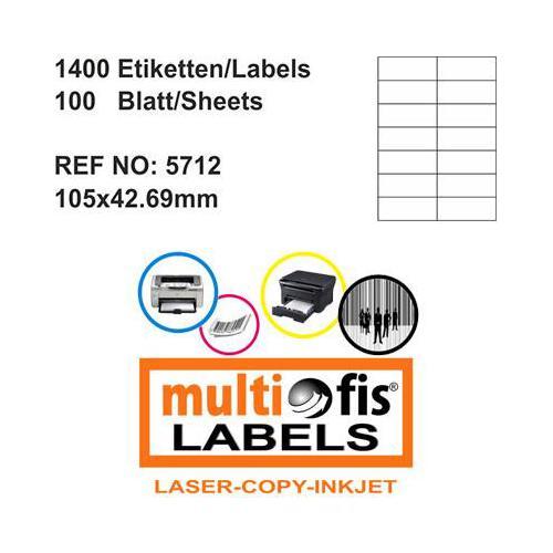 Multiofis 105X42,69 Mm Laser Etiket 5712