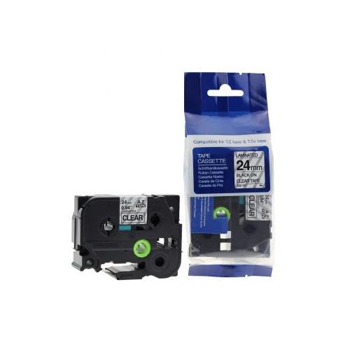 Sarf Muadil Brother P-Touch Tz-Tape 24Mm Şeffaf-Siyah Etiket 24Tze151