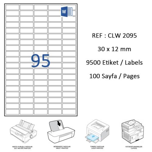 Crea Label Clw-2095 30 X 12 Mm Lazer Etiket