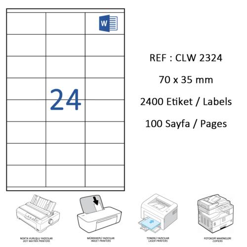 Crea Label Clw-2324 70 X 35 Mm Lazer Etiket