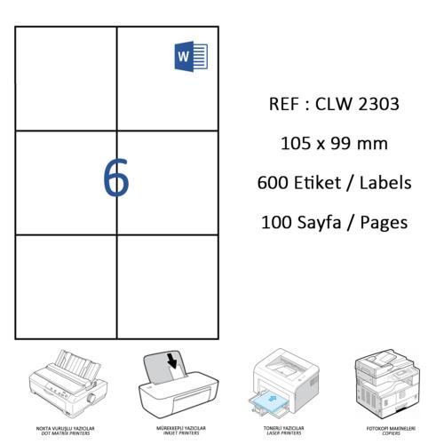 Crea Label Clw-2303 105 X 99 Mm Lazer Etiket