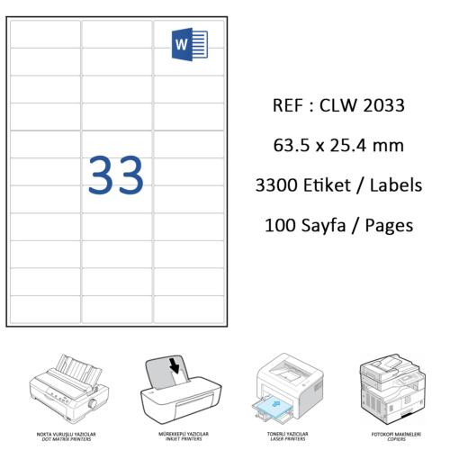 Crea Label Clw-2033 63.5 X 25.4 Mm Lazer Etiket