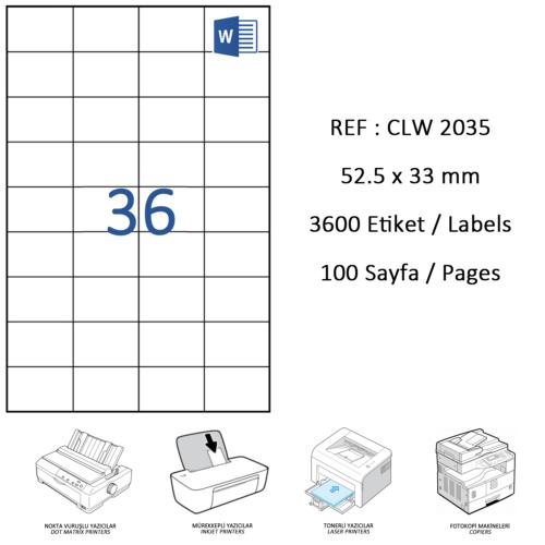 Crea Label Clw-2035 52.5 X 33 Mm Lazer Etiket