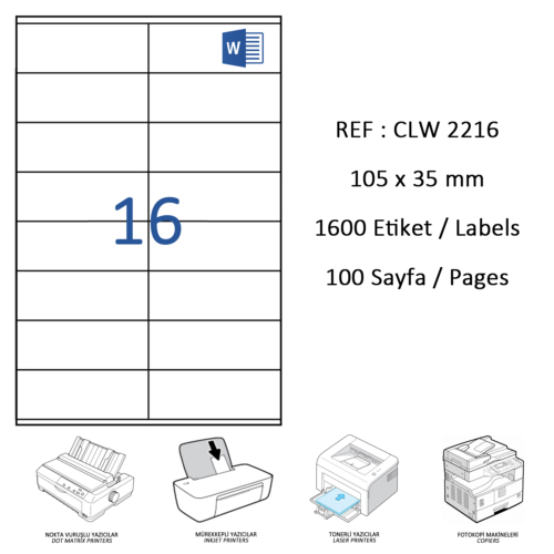Crea Label Clw-2216 105 X 35 Mm Lazer Etiket