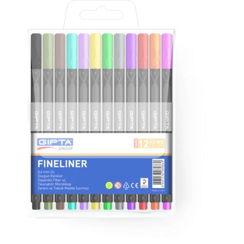 Gıpta Fineliner Kalem 0,4 Mm - Pvc Blister -Üçgen-12 Renk