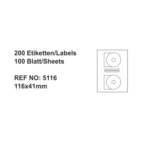 Multiofis 117X41 Mm Cd Laser Etiket 5116-5117