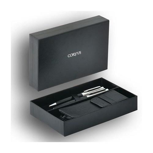Corvus Deri Kılıflı Roller Kalem Ve Tükenmez Kalem Set