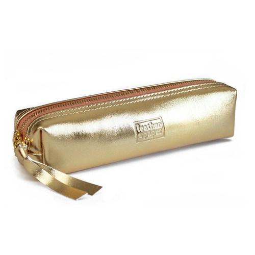 Leather&Paper Altın Deri Kalem Kutusu