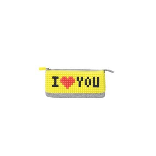 Pixelbags Kalem Kutusu - Gri - Sarı