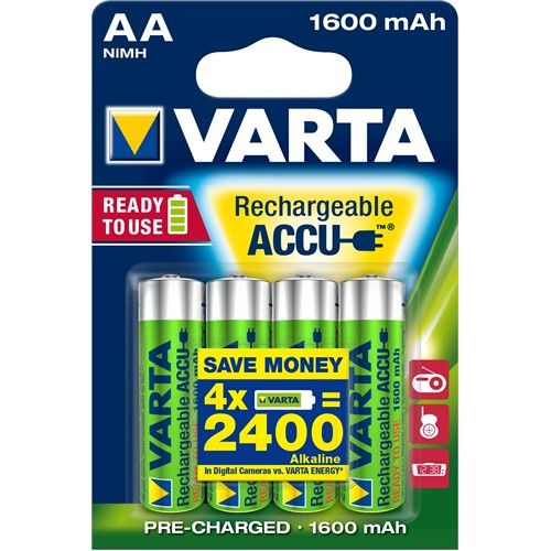 Varta Rechargeable Accu Aa / Hr6 Ready To Use 1600Mah Bls 4 56716101404