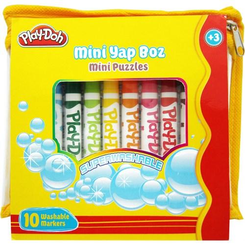 Play-Doh 12 'Li Mini Keçeli Kalem 1 Mini Puzzle Play-Yb005