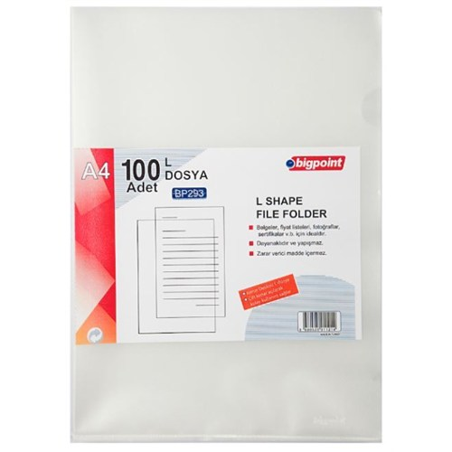 Bigpoint L Dosya Standart 100'Lü - Bp293