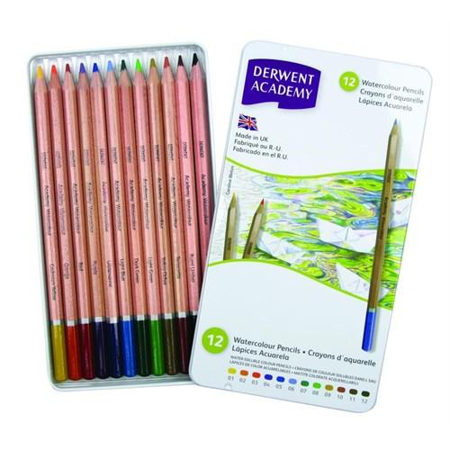 Derwent Academy Watercolour Pencils Aquarel Boya Teneke Kutu 12 Renk