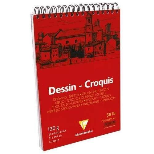 Clairefontaine Dessin - Croquis White Spiralli Çizim Defteri 50 Yaprak 120 Gr. A4