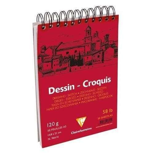 Clairefontaine Dessin - Croquis White Spiralli Çizim Defteri 50 Yaprak 120 Gr. A5