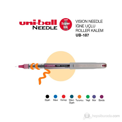 Uni-ball Vision Needle Fine İğne Uçlu Roller Kalem 0,7 1'li (UB-187)
