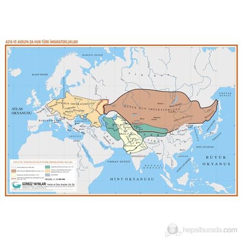 Asya'Da Ve Avrupa'Da Hun-Türk İmparatorlukları Haritası
