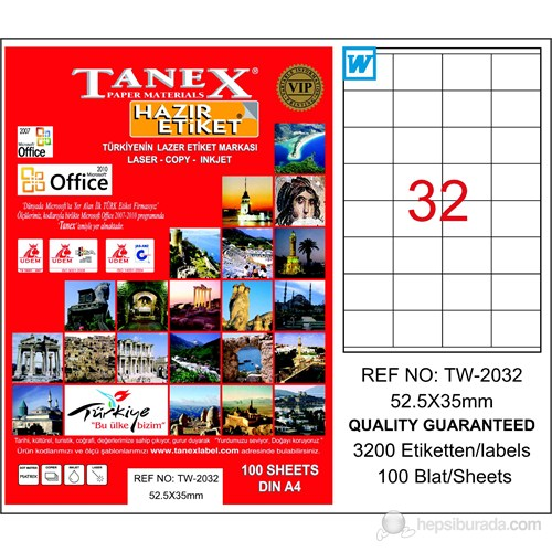 Tanex TW-2032 52,5x35 mm Laser Etiket 100 Ad.