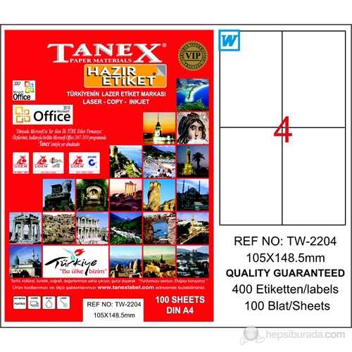 Tanex TW-2204 105x148,5 mm Laser Etiket 100 Ad.