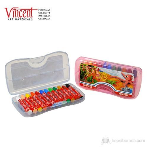 Vincent Oil Pastel Çantalı Yağlı Pastel Boya 12 Renk - Mavi Kutu