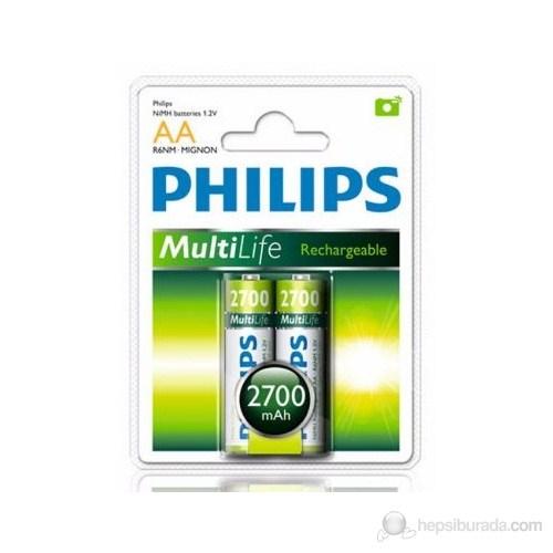 Philips R6B2A270 AA 2700 Mah Şarj Edilebilir 2'Li Kalem Pil