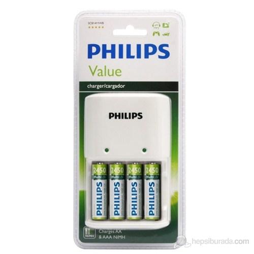 Philips SCB1492NB Pil Şarj Cihazı + 4'lü 2450 Mah Şarj Edilebilir Kalem Pil Hediyeli